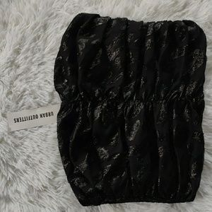 urban outfitters strapless top black cheetah style